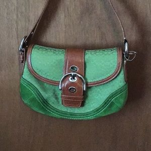 Green Coach signature bag with tan leather